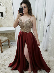 Burgundy Long Prom Dress A Line Spaghetti Straps Slit Evening Dress OP390