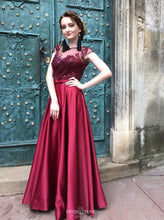 Burgundy Long Prom Dress Satin Cap Sleeves Illusion Bateau Party Dress OP481