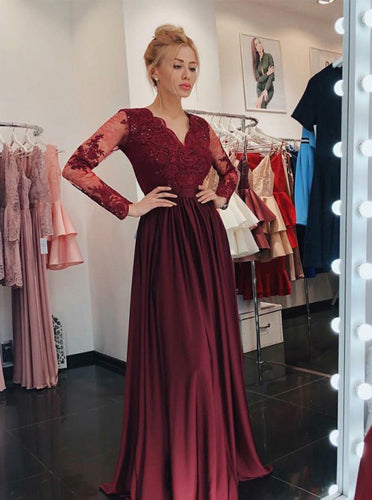 Burgundy Prom Dress A-Line V-Neck Long Sleeves with Appliques OP610