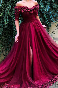 Burgundy Prom Dress Off Shoulder Half Sleeves Tulle with Appliques OP607