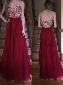 Burgundy Prom Dress Sweetheart Beaded Bodice Chiffon Long Formal Gown OP423