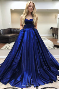 Burgundy Prom Dresses Sweetheart Long Graduation Gowns with Pockets OP649
