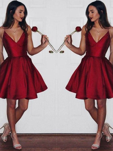 Sexy Spaghetti Straps V Neck Burgundy Short Prom Dress with Pockets, OP190