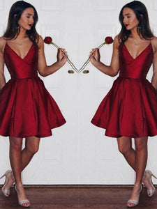 Sexy Spaghetti Straps V Neck Burgundy Short Prom Dress With Pockets