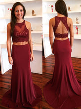 Burgundy Two Piece Prom Dress Keyhole Back With Lace Appliques OP425