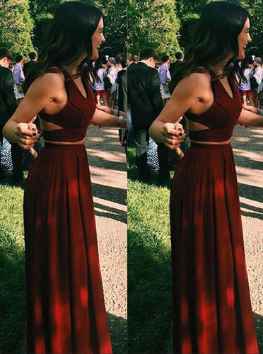 Burgundy Two Pieces Long Prom Dress Chiffon Sexy Evening Gowns OP405