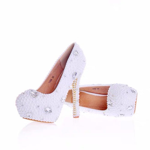 Patent Leather Closed Toe With Pearl Rhinestone White Wedding Shoes OS120