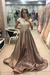 Cap Sleeves Long Prom Dress Satin Lace Appliques Formal Gown OP659