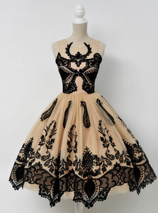 Scoop Tulle Homecoming Dress with Lace Black Appliques, OP197