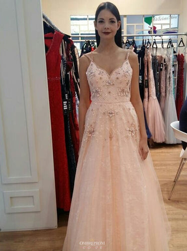 Charming A-line Blush Pink Beaded Long Prom Dresses For Teens OP497