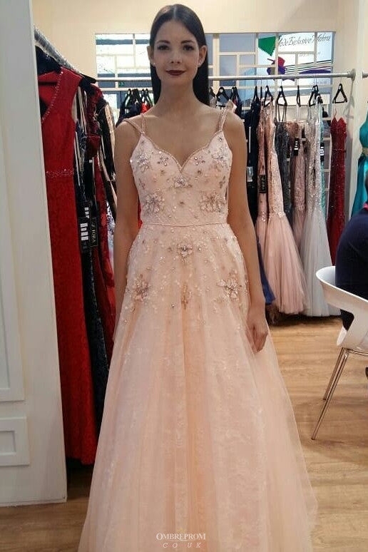 3f7f1451089 Buy Charming A Line Blush Pink Beaded Long Prom Dresses For Teens