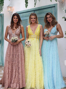 Charming Backless Pastel Long Prom Dresses Lace V-neck Bridesmaid Dresses OP477