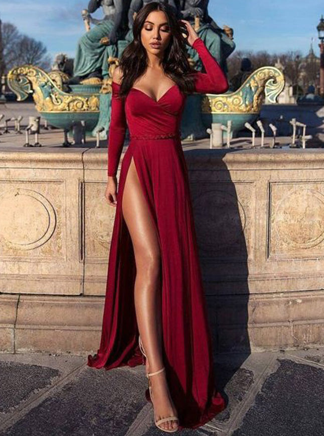 Charming Burgundy Off The Shoulder Long Sleeves Prom Dress With Slit