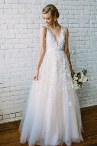 Charming Country Wedding Dresses V Neck Appliques A Line Bridal Gowns OW372