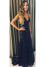 Charming Dark Blue Lace Prom Dress Backless Mermaid Evening Gown Dress OP462