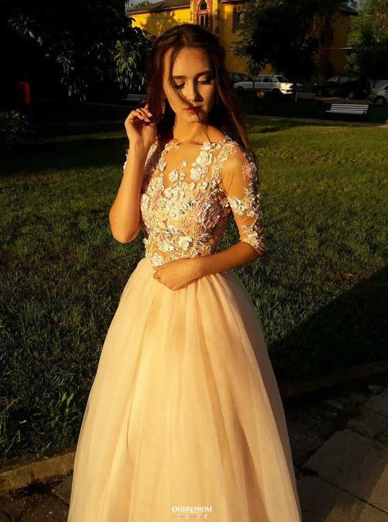 Charming Floral Appliques Long Prom Dresses With 3/4 Sleeves OP528