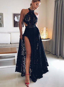 Charming Halter Black Lace Prom Dress, Sexy A-Line With Slit Evening Dress OP350