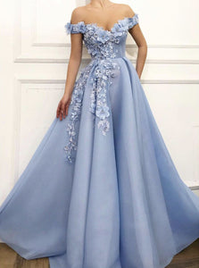 Charming Off Shoulder 3D Flower Appliques Net Blue Prom Dresses OP503