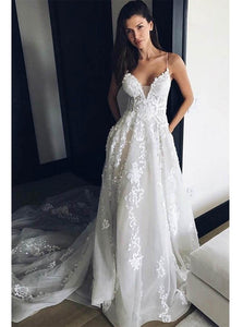 Princess Spaghetti Straps Beach Wedding Dress, Boho Bridal Gown with Appliques Lace OW324