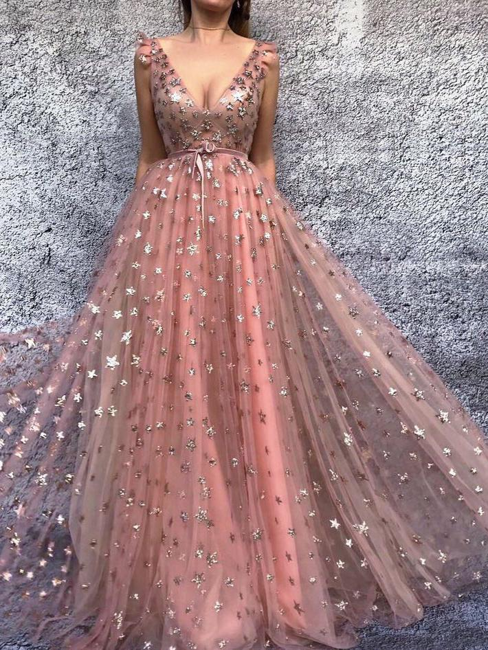 Chic A-line Pink Long Prom Dresses Starry Night Formal Evening Dresses OP615