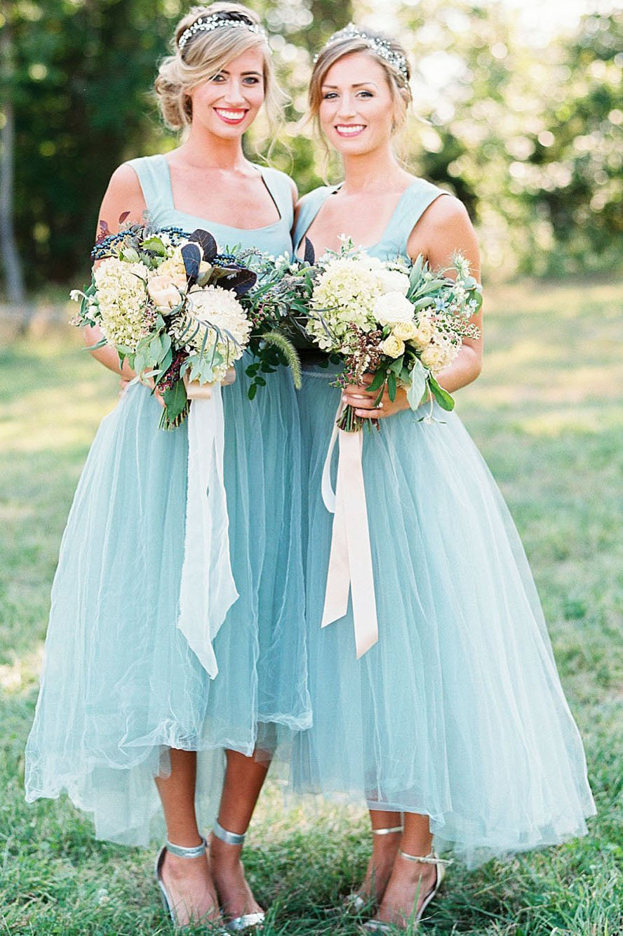 Chic Bridesmaid Dresses | Chic Straps Short Asymmetrical Bridesmaid Dresses Mint Green Tulle