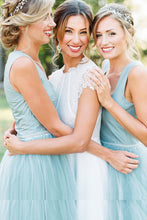 Chic Straps Short Asymmetrical Bridesmaid Dresses Mint Green Tulle, OB171