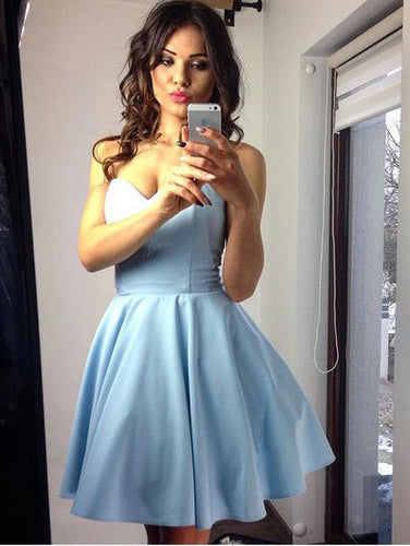 Chic Sweetheart Short Prom Dress, Cheap Blue Homecoming Dress UK, OM120