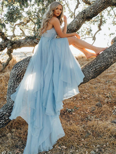 A-line Spaghetti Straps Chiffon Slit Long Prom Dress, Backless Evening Dress, OP158