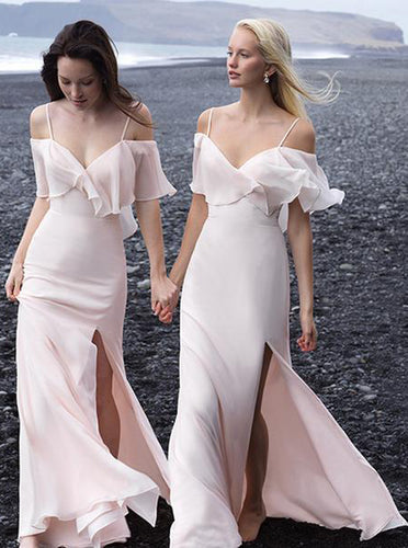 Chiffon Off-Shoulder Spaghetti Straps Drop Sleeves Boho Bridesmaid Dresses OB160
