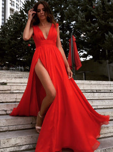 Chiffon Ruched Waist Red Long Prom Dress, Sexy Split Evening Dress OP326