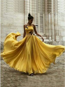 Chiffon Yellow Long Prom Dress A-Line Halter with Butterfly Appliques OP401