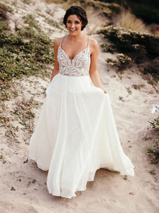 Classic Spaghetti Beaded Chiffon Ivory Country Wedding Gown OW358