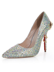 Closed Toe Sheepskin Rhinestone Stiletto High Heels OS106