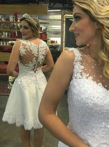 Cute Short Wedding Dress Lace Applique Sequins Rhinestone Bridal Gown OW344