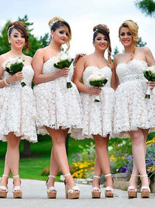 Cheap Cute Sweetheart Lace Appliques Short Bridesmaid Dresses OB144