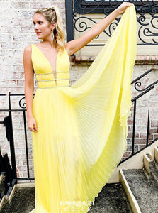Daffodil Long Prom Dress Plunging Neckline Yellow Dress with Beading OP629
