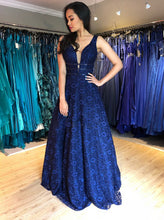 A-Line V-Neck Beading Dark Blue Lace Backless Long Prom Dress OP295