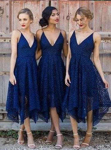 Dark Blue Spaghetti Straps V-neck Asymmetrical Lace Bridesmaid Dress