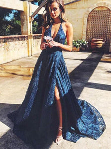 Dark Blue Lace Long Prom Dress, V-neck Backless Evening Dress OP660