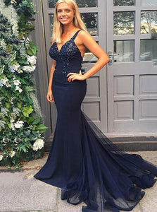 Dark Navy Blue Mermaid Prom Dress Spaghetti Straps With Beading OP673