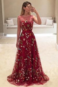 Dark Red A-Line Bateau Tulle Long Prom Dress with Floral Embroidery OP371