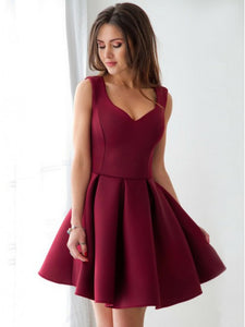 A-Line V-neck Pleated Satin Graduation Dresses, Short Homecoming Dress, OP176