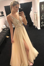 Deep V-Neck Beading Tulle Long Prom Dress, Sexy Split Evening Dress OP324