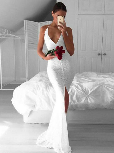 Deep V-Neck Mermaid Lace Prom Dress, Backless Evening Dress With Slit OP594