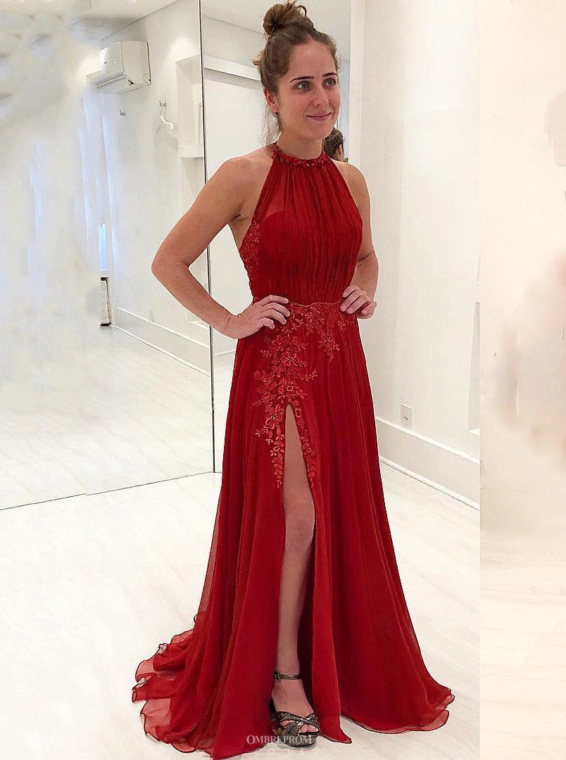 5853f1ddafc Delicate Halter Chiffon Red Prom Dress Appliques Formal Gown With Split  OP510 ...