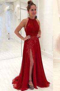 Delicate Halter Chiffon Red Prom Dress Appliques Formal Gown With Split OP510