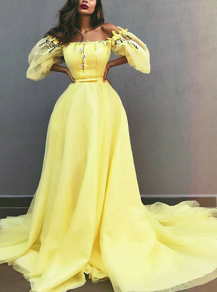 Disney Princess Yellow Off Shoulder Chiffon Puff Sleeves Prom Dresses OP410