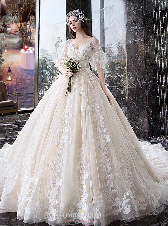 Dream Half Puff Sleeves Ball Gown Wedding Dress With Appliques OW412