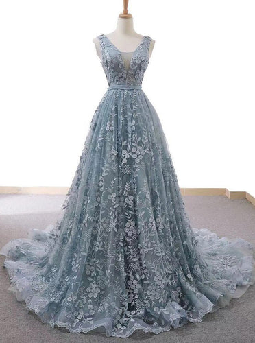 Dusty Blue Tulle Long Prom Dress With Appliques Formal Gown OP653