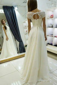 Elegant A-Line Bateau Cap Sleeves Lace Chiffon Wedding Dress OW356